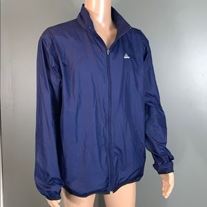 Adidas Mens Navy Athletic Windbreaker Jacket SZ.L